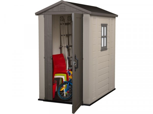 Keter Plastic 4 x 6ft Apex Garden Shed - Beige and Brown
