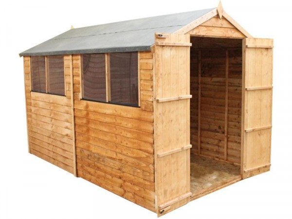Mercia Garden Overlap Wooden Apex Double Door Shed 10 x 6ft