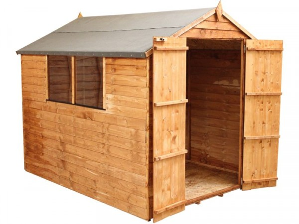 Mercia Garden Overlap Wooden Apex Double Door Shed 8 x 6ft