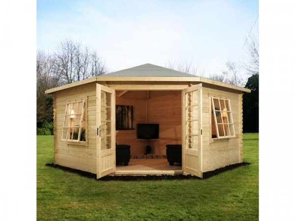 4M X 4M CORNER CABIN 28MM SINGLE GLAZED