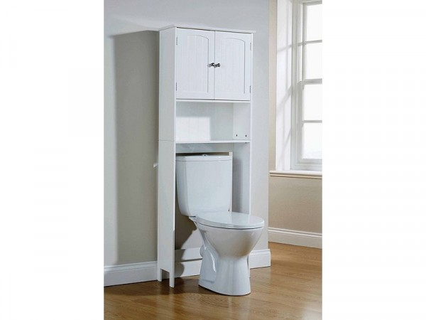 Colonial Etagere with Doors - White