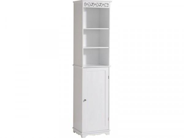 Scroll Tall Bathroom Cupboard - White