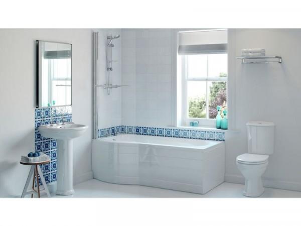 P Shaped Shower Bath with Lights