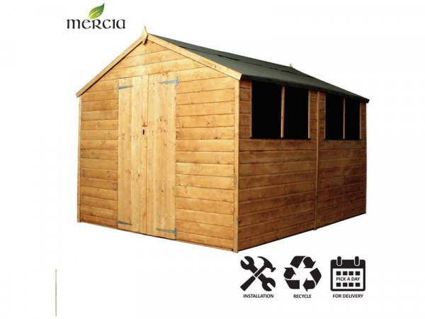 Mercia Shiplap Apex Wooden Shed Installation Included-10x8ft