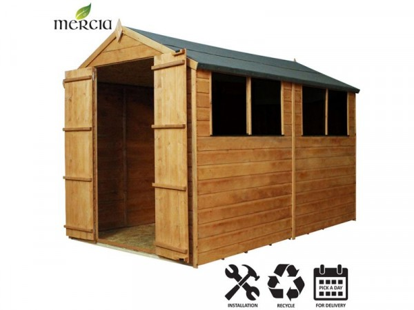 Mercia Shiplap Apex Wooden Shed Installation Included-10x6ft