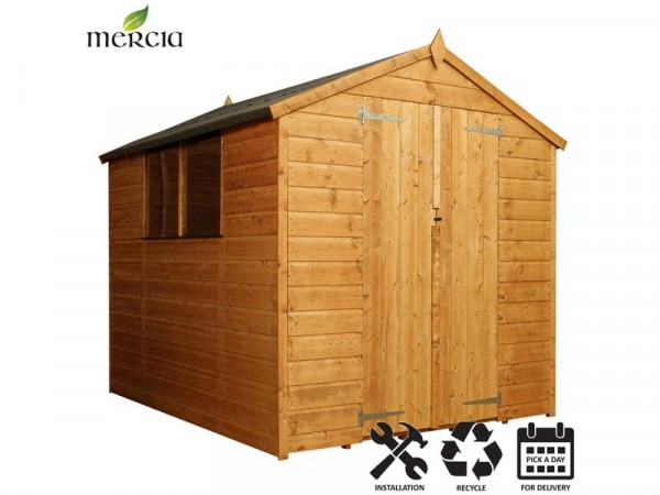 Mercia Shiplap Apex Wooden Shed Installation Included -8x6ft