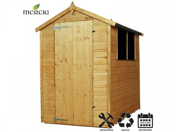 Mercia Shiplap Apex Wooden Shed Installation Included -6x4ft