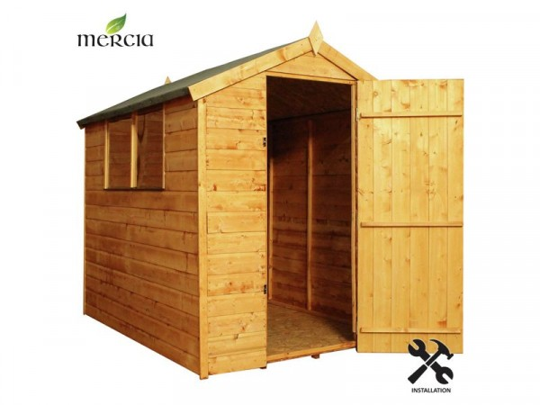 Mercia Shiplap Apex Wooden Shed Installation Included-7x5ft