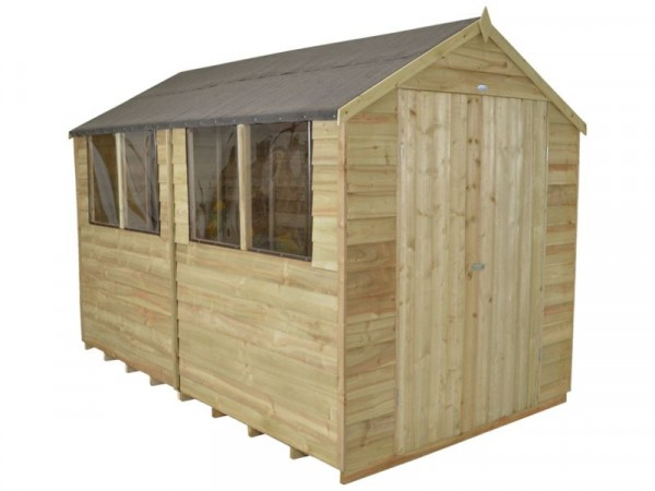 8X10 OVERLAP SHED DBLE DR ASSEMBLED