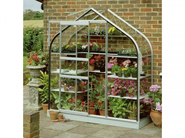 Halls Aluminium Supreme Wall Garden Greenhouse with Base