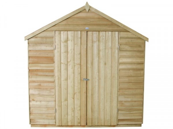 7X5 OVERLAP APEX SHED DBLE DR ASSEMBLED