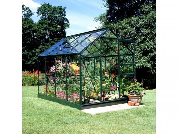 Halls Popular Glass 8 x 6ft Greenhouse with Base