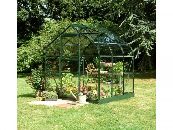Halls Supreme Toughened Glass 6 x 6ft Greenhouse with Base