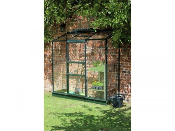 Halls Wall Garden Lean-to Greenhouse with Base - Green