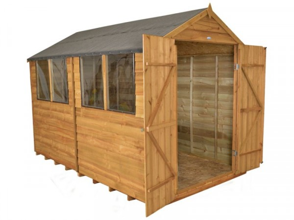 Forest Overlap Wooden Double Door Shed - 8 x 10ft