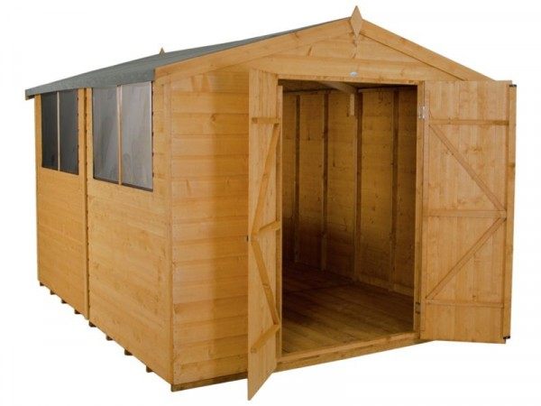 Forest Wooden 10 x 8ft Shiplap Double Door Apex Shed