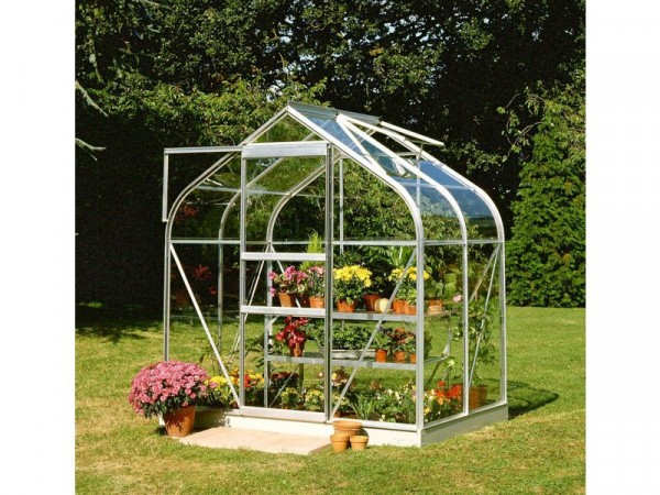 Halls Supreme Toughened Glass 4 xs 6ft Greenhouse with Base