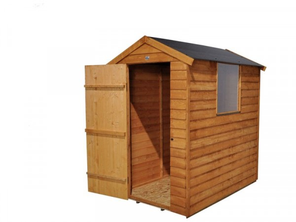 Forest Overlap Wooden Shed with Assembly - 6 x 4ft