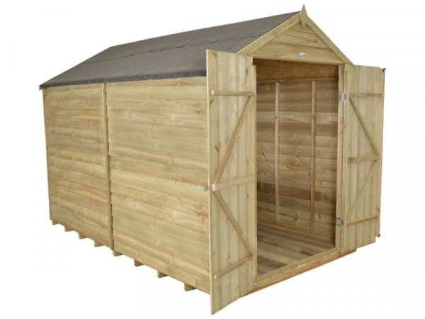 Forest Overlap Wooden Double Door Windowless Shed - 8 x 10ft