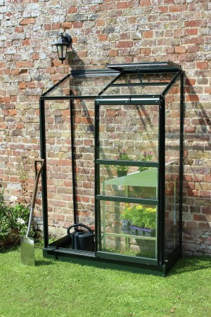 Halls Wall Garden Greenhouse with Base - Green