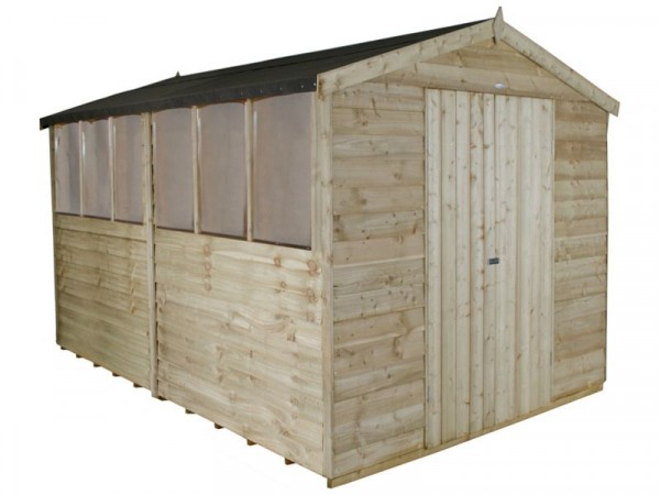 Forest Wooden 12 x 8ft Overlap Double Door Apex Shed