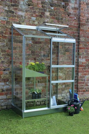 Halls Aluminium Wall Garden Greenhouse and Base