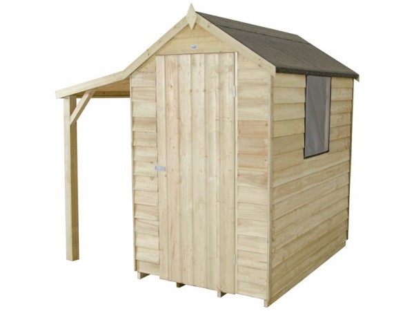 Forest Overlap Apex 4 x 6ft Shed with Lean-to, Base & Inst