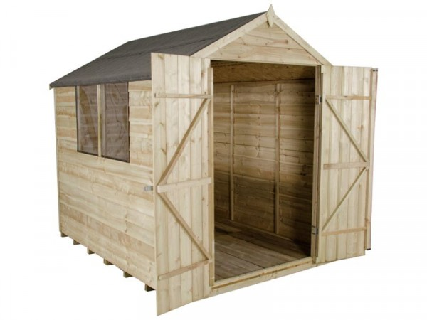 6X8 OVERLAP APEX SHED DOUB DOOR   BASE