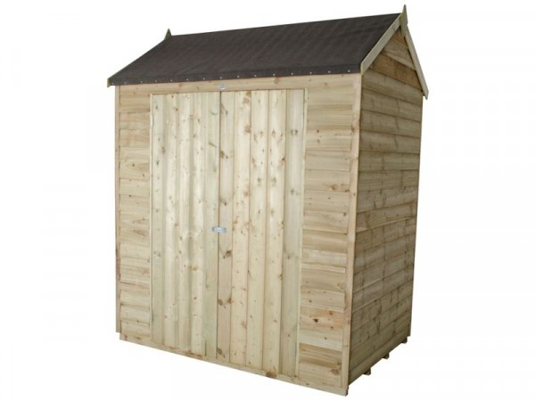 Forest Overlap Reverse Apex 6x4ft Double Door Shed and Inst