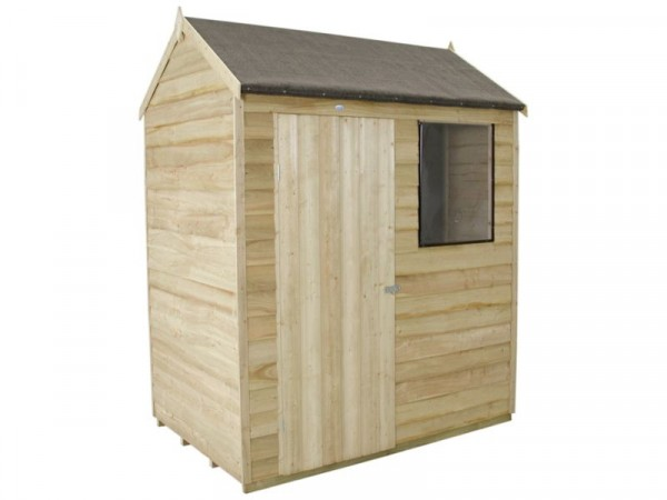 Forest Overlap Reverse Apex 6x4ft Shed with Base and Inst