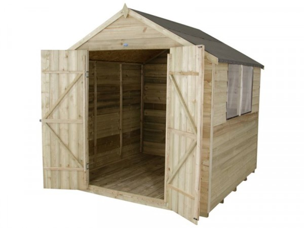 Forest Wooden 7 x 7ft Overlap Double Door Apex Shed