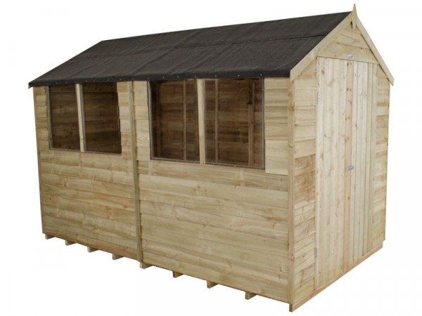 6X10 OVERLAP APEX SHED DBLE DR ASSEMBLED