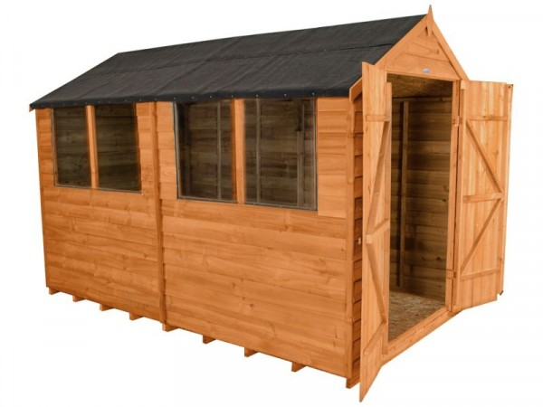 Forest Overlap Wooden Double Door Shed - 6 x 10ft