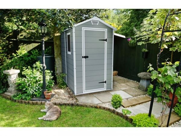 Keter Manor Plastic Beige & Brown Garden Shed - 4 x 6ft