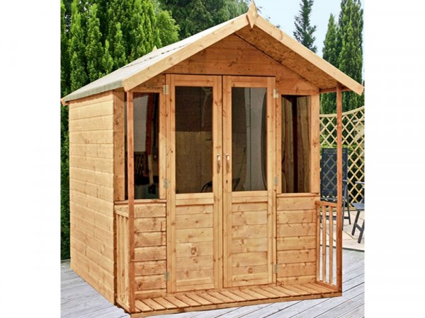 Traditional Wooden Summerhouse Including Verandah - 8 X 7ft