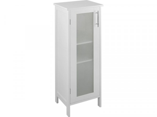 Hygena Frosted Insert Bathroom Floor Cabinet - White