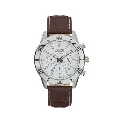 Pulsar Men's Chronograph Brown Leather Strap Watch