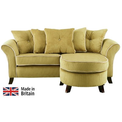 Collection Daisy Movable Corner Sofa - Lime with Cream