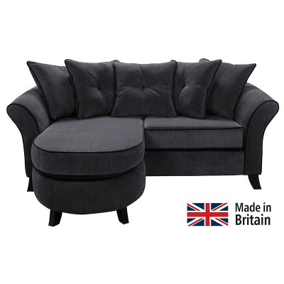 Collection Daisy Movable Corner Sofa - Charcoal with Black