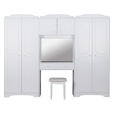 HOME Nordic Wardrobe Fitment, Mirror and Stool - White