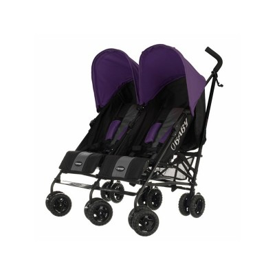 Obaby Apollo Black and Grey Twin Stroller - Purple