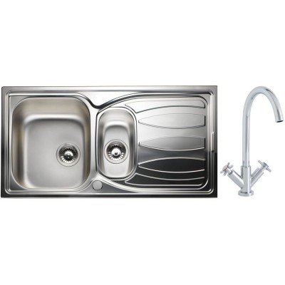 Phlox Luxury Kitchen Sink with 1.5 Bowl and Dual Handle Tap