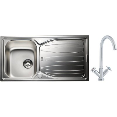 Phlox Luxury Kitchen Sink with 1.0 Bowl and Dual Handle Tap