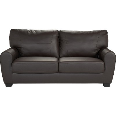 HOME Stefano 3 Seater Leather / Leather Effect Sofa - Choc