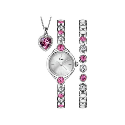 Limit Ladies' Pink Heart Triple Stone Set Watch