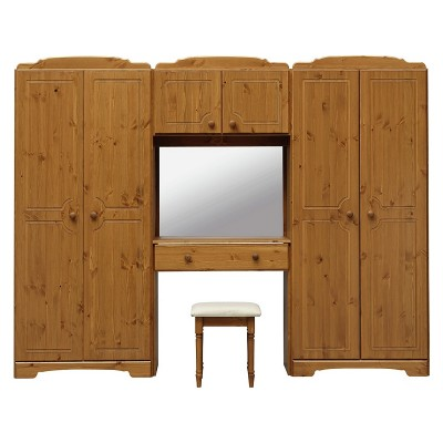 HOME Nordic Wardrobe Fitment, Mirror and Stool - Pine
