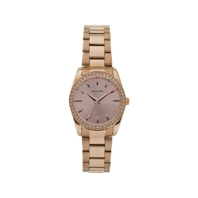 Accurist Ladies' Stone Set Rose Gold Plated Bracelet Watch