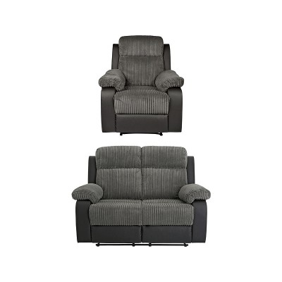 Argos Home Bradley Chair & 2 Seater Recliner Sofa - Charcoal