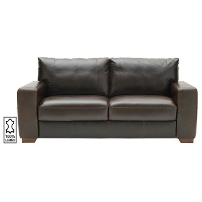 Argos Home Eton 3 Seater Leather Sofa - Dark Brown