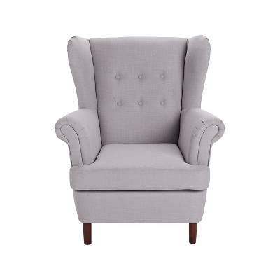 Collection Martha Fabric Wingback Chair - Light Grey